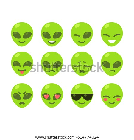 set of alien emoji icons cute