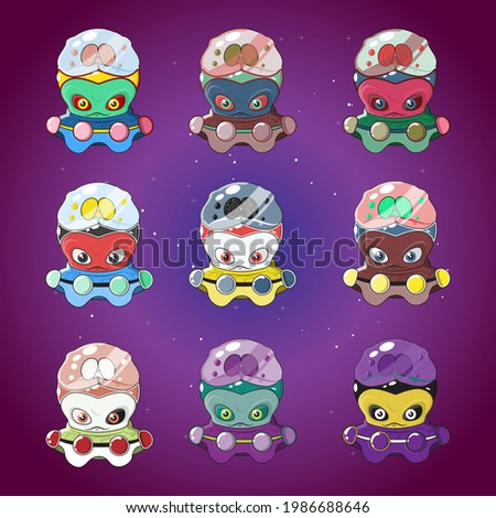 Set of aliens in spaceships in different colors, vector illustration of aliens in ufo, aliens with brains in glass tubes, illustration of aliens on galaxy or space background, alien army