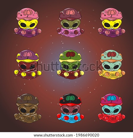 Set of aliens in spaceships with different color, vector illustration of aliens in ufo, aliens with brains in glass tubes, illustration of aliens on galaxy or space background, alien army. scary face