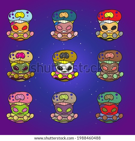 Set of aliens in spaceships with different color, vector illustration of aliens in ufo, aliens with brains in glass tubes, illustration of aliens on galaxy or space background, alien army.