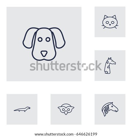 set of 6 alive outline icons
