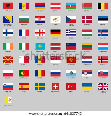 set of all europe flags vector