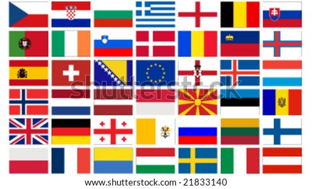 stock vector : set of all european flags vector illustration