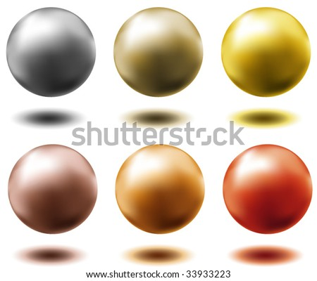 set of all metal balls of gold silver brass copper platinum