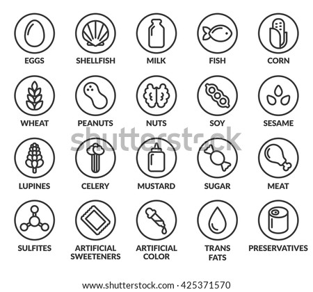 Set of allergy ingredient warning labels. Common allergens icons. Gluten and sulfite sensitivity, celery and mustard, artificial sweeteners and preservatives, and more. Foto stock ©
