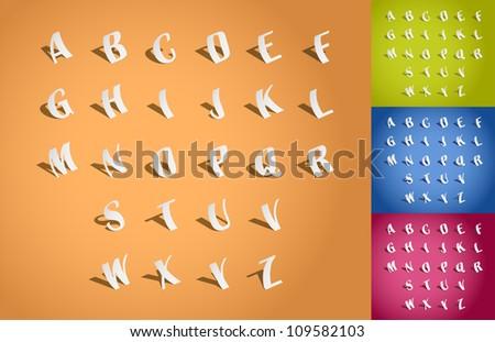 Set of alphabet font, cut of paper - illustration - stock vector