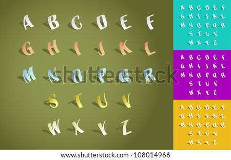 Set of alphabet font from cut paper - illustration