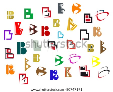 Set of alphabet symbols and elements of letter B - also as emblem, such a logo. Jpeg version also available in gallery