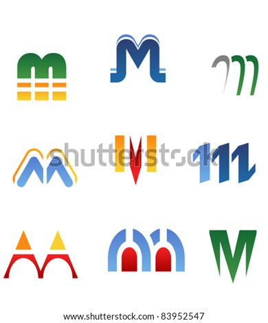Set of alphabet symbols and elements of letter M. Rasterized version also available in gallery
