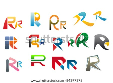 Set of alphabet symbols and elements of letter R, such a logo. Rasterized version also available in gallery