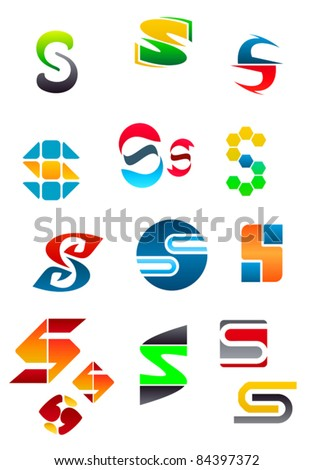 Set of alphabet symbols and elements of letter S. Rasterized version also available in gallery
