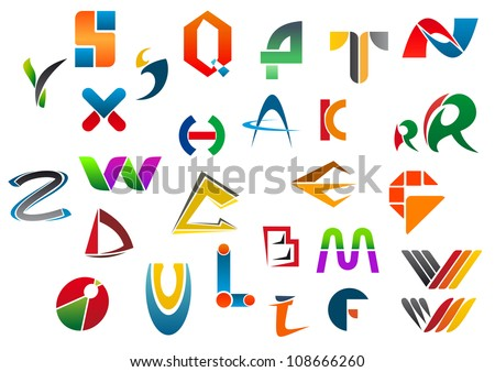 Set of alphabet symbols and icons from A to Z, such a logo idea. Jpeg version also available in gallery Stock fotó ©