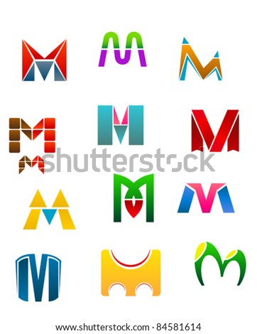 Set of alphabet symbols of letter M, such a logo. Rasterized version also available in gallery