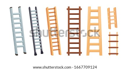 Set of aluminum and wooden ladders with stairs. Cartoon vector illustration isolated on white background stock photo