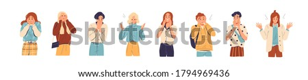 Set of amazed, surprised young people. Young man and woman with open mouths and excited reactions. Wow effect. Happy, glad teenagers. Flat vector cartoon illustration isolated on white background