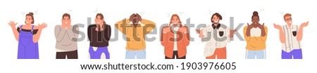 Set of amazed, surprised young people. Young man and woman with open mouths and excited reactions. Wow effect. Happy, glad teenagers. Vector illustration