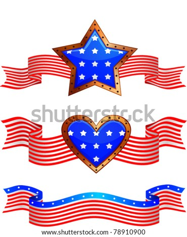 set of 3 american colored stars banners