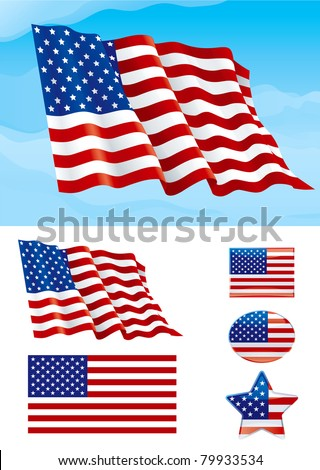 Set of American flag. Flag of USA on blue sky, Isolated on white background and icons with it - star, square and oval shape