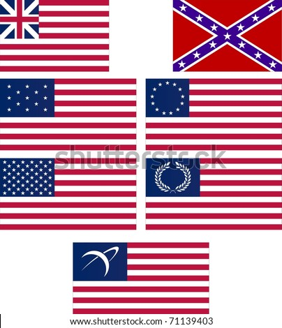 set of american flags. vector illustration