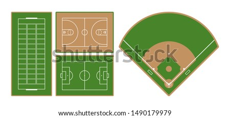 Set of american football, basketball, european football (soccer) and baseball sport fields. Flat design. Vector illustration. Stock fotó ©