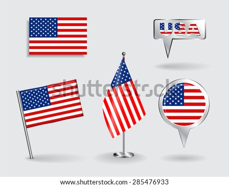 set of american pin  icon and