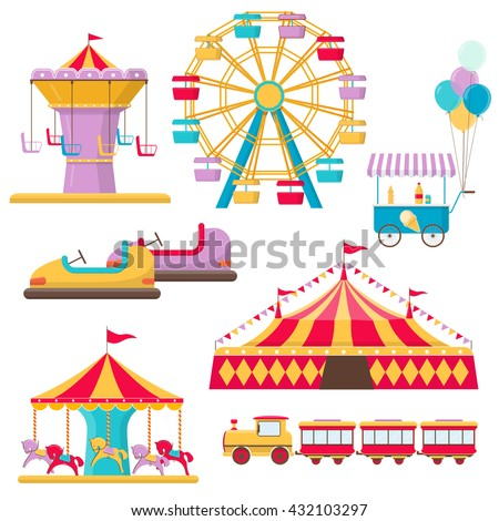 set of amusement park elements