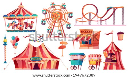 Set of amusement park icons. Vector carnival circus tent, ferris wheel, rollercoaster, carousel and candy cotton booth, food carts, shooting gallery, arrows pointers, ticketsbox. Balloons and flags Foto stock ©