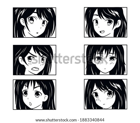 Set of an anime girl. Collection of cartoon emotion girls. Cute anime comics. Manga style. Set of Japanese cartoon. Anime characters. Vector illustration on white background. Tattoo.
