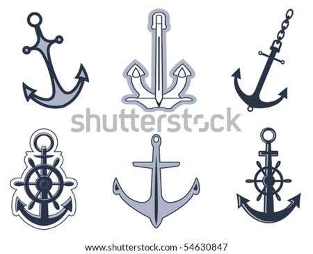 Set of anchor symbols for design or logo template. Jpeg version also available