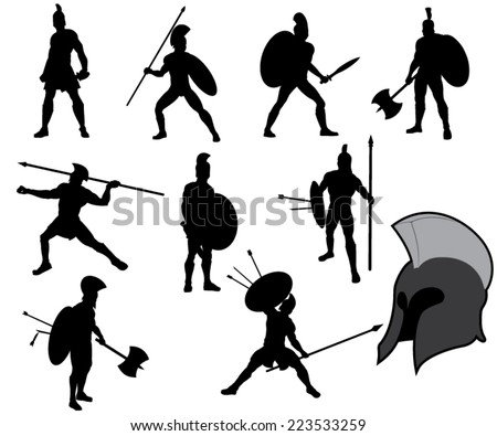 set of ancient greek warriors