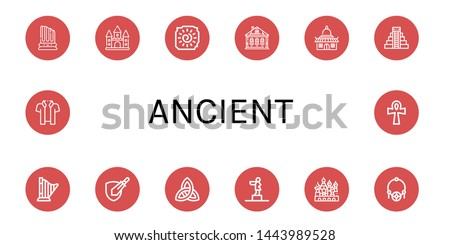 Set of ancient icons such as Column, Castle, Cave painting, Izba, Temple, Mayan pyramid, Harp, Rpg game, Paganism, Statue, Cathedral of saint basil, Amulet, Hawaiian , ancient