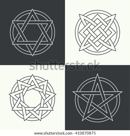 set of ancient symbols executed
