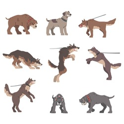 Set of Angry Aggressive Large Dogs Baring its Teeth Vector Illustration