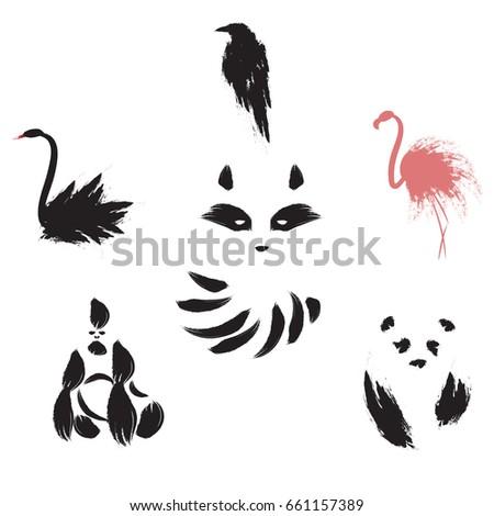 set of animal black swan