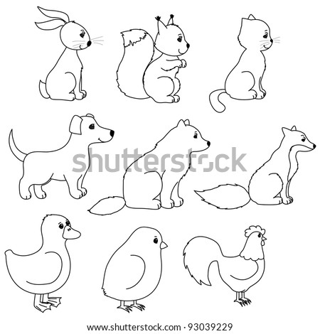set of animal contours  like