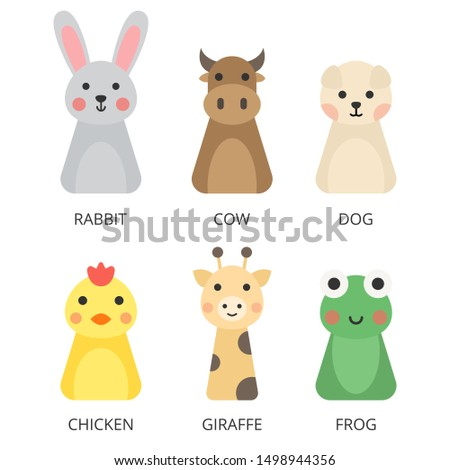 Set of animal flat design vector. Cute animals vector. Animals vector isolate on white background. Vector illustration.
