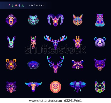set of animal icons abstract