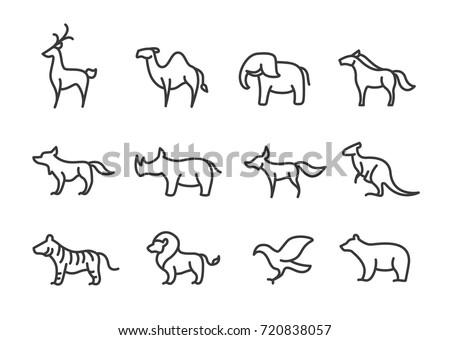 Set of animal line icon