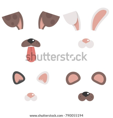 Set of animal masks. Dog, cat, bunny, bear. Face filters for a selfie application. Flat editable vector illustration, clip art