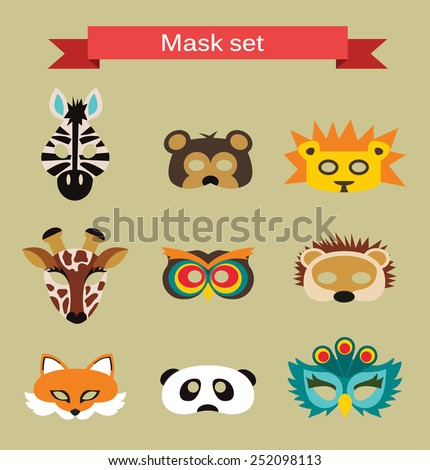 set of animal masks for costume
