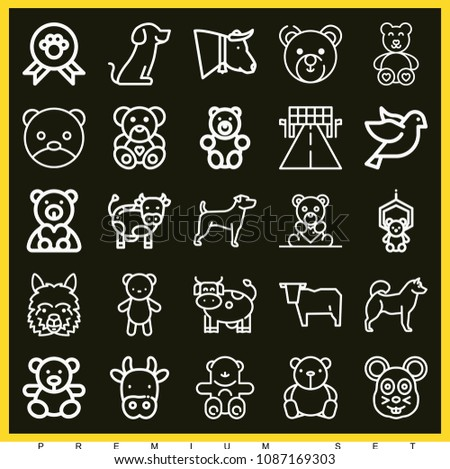 set of 25 animal outline icons