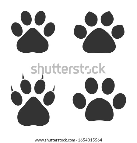 set of animal paws in gray