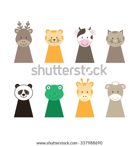 set of animal puppets