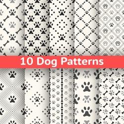 Set of animal seamless vector pattern of paw footprint in repeating rhombus.