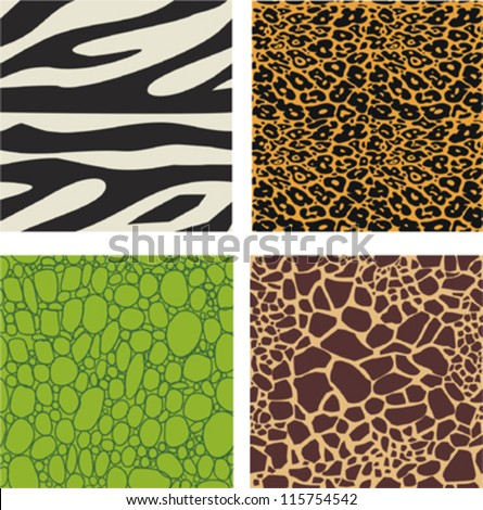 Set of 4 animal skin patterns - zebra, leopard,crocodile and giraffe