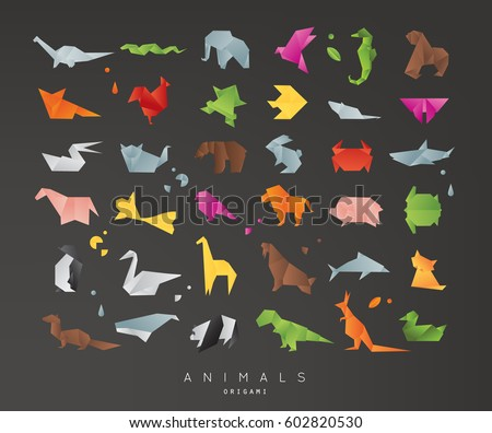 set of animals color origami