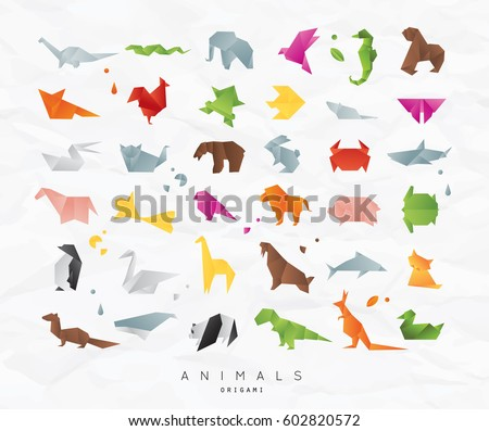 Set of animals color origami snake, elephant, bird, seahorse, frog, fox, mouse, butterfly, pelican, wolf, bear, giraffe, cat, panda, kangaroo on crumpled paper background