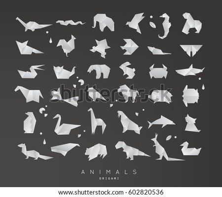 Set of animals grey origami snake, elephant, bird, seahorse, frog, fox, mouse, butterfly, pelican, wolf, bear, rabbit, crab, pig, turtle, penguin, giraffe, cat, panda, kangaroo on black background