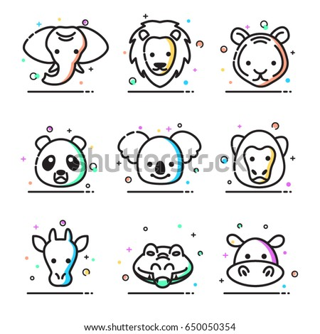 Set of animals icons. Modern vector line design icons and pictograms.