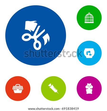 set of 6 animals icons set